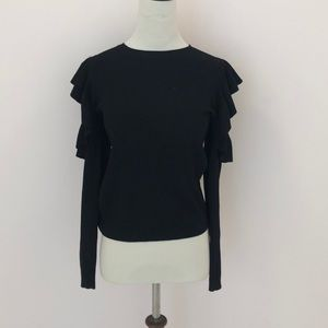 Black Ruffle Cold Shoulder Sweater